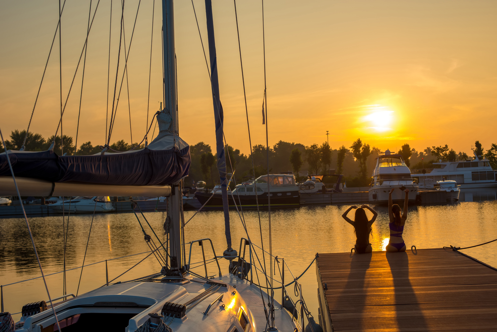 Sunset in the yacht club